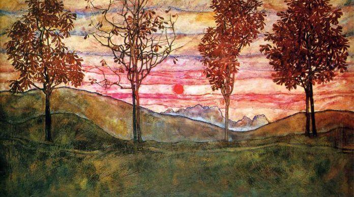 'Four trees' (detalle), Egon Schiele, 1917