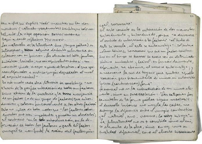 Página manuscrita de los diarios de Ricardo Piglia