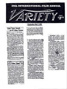 Primera plana de Variety donde aparece la carta de los cineastas exiliados cubanos | Rialta