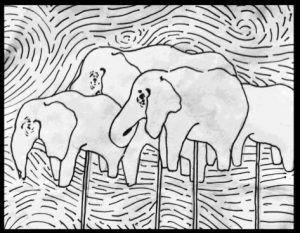 Dibujo de Laura Liz perteneciente al libro 'Cartografía de elefantes sin manada' Salvadora Editora 2017 | Rialta