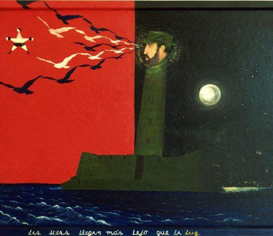 'Las ideas llegan más lejos que la luz' (óleo sobre madera), René Francisco Rodríguez y Eduardo Ponjuán, 1989