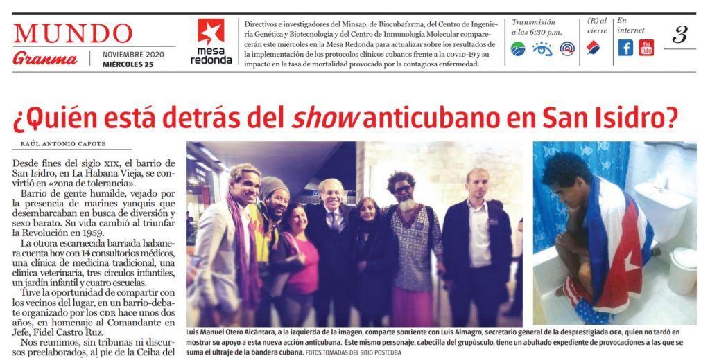 Captura de la edición impresa del periódico Granma del 25 de noviembre de 2020   Rialta