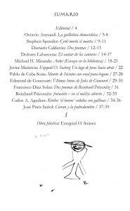 Sumario del primer número de 'Parva Forma. Revista Inactual de Arte y Literatura'; ilustración de Ezequiel O. Suárez