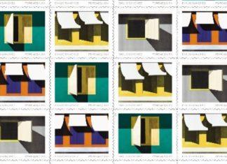 Estampillas con obras de Emilio Sánchez (Imagen: Servicio Postal de Estados Unidos)