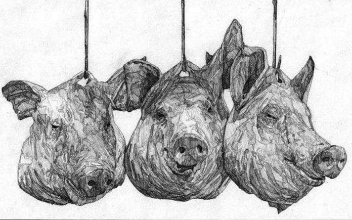 'Agromercado', grafito sobre papel, Hamlet Lavastida, 2020