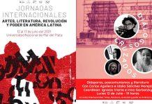 """Cartel de I Jornadas Internacionales """"Artes, literatura, revolución y poder en América Latina"""" / Cartel de Diálogos Cruzados: """"Diásporas, poscomunismos y literatura"""""""