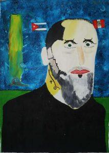 'Retrato de Orlando Hernández', Noel Guzmán Boffill, óleo sobre lienzo, 2006