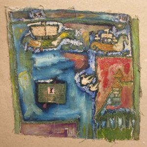 'Vikingos', Noel Guzmán Boffill, óleo sobre tela, circa 1985-1986