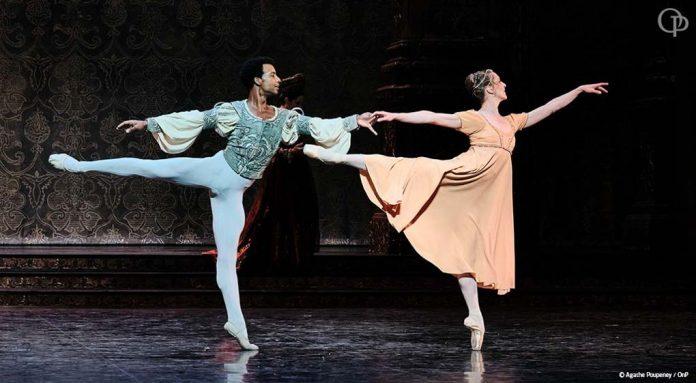 Osiel Gouneo junto a Valentine Colasante en la Bastilla (foto compartida por el Ballet de la Ópera de París en Twitter)