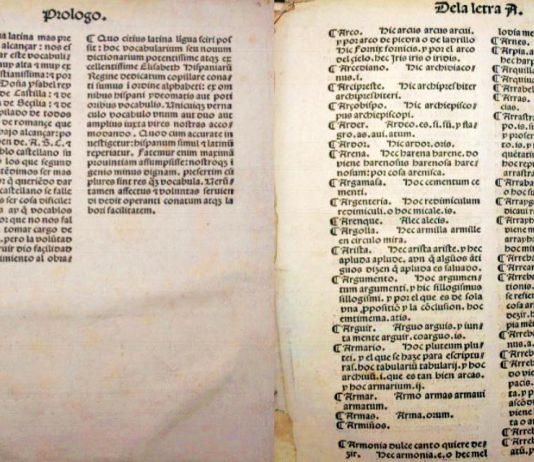 Vistas de los dos folios del diccionario (1492-1493) de Alfonso de Palencia, conservados en la Firestone Library de la Universidad de Princeton, Estados Unidos.
