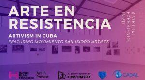 Cartel de 'Arte en resistencia'; Movimiento San Isidro. Oslo Freedom Forum 2021. (Tomado: Facebook/Claudia Genlui).